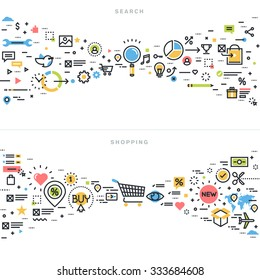 Flat line design vector illustration concepts for search results, seo, information finding, content analysis, shopping, e-commerce, retail shopping activity, for website banner and landing page.