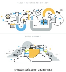 Flat line design vector illustration concepts for cloud computing technology, cloud storage, cloud solutions, security and availability, for website banner and landing page.
