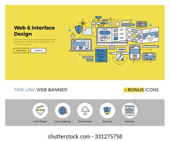 Flat line design of web banner template with outline icons of website interface sketching, prototyping UI and UX content, web page test. Modern vector illustration concept for website or infographics.