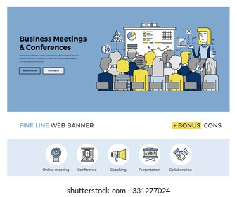 Flat line design of web banner template with outline icons of business people training, corporate conference, sales meeting presentation. Modern vector illustration concept for website or infographics