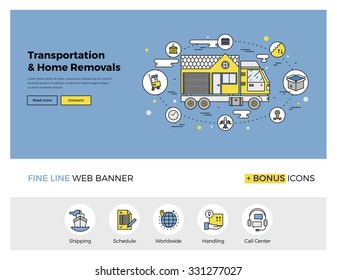 Flat line design of web banner template with outline icons of home relocation service, worldwide transportation assistance, moving house. Modern vector illustration concept for website or infographics