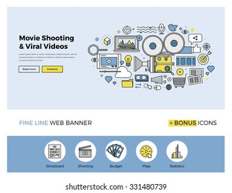 Flat line design of web banner template with outline icons of viral video marketing, movie shooting, professional TV studio production. Modern vector illustration concept for website or infographics.