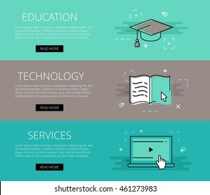 Educational Website Banners Brush Stroke Transparent Banners