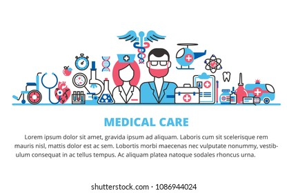 Flat line design website banner of health care, medical care clinic and hospital facilities. Modern vector illustration for web design, marketing and print material.