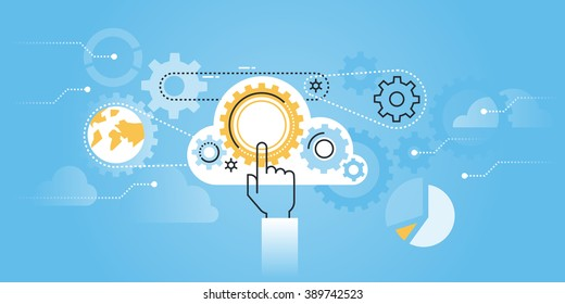 Flat line design website banner of cloud computing technology. Modern vector illustration for web design, marketing and print material.