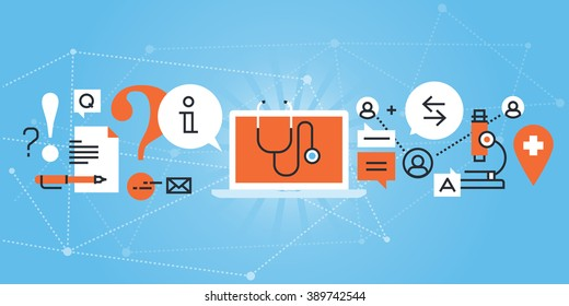 Flat line design website banner of online medical diagnosis and treatment. Modern vector illustration for web design, marketing and print material.