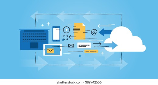 Flat line design website banner of cloud computing, data storage. Modern vector illustration for web design, marketing and print material.