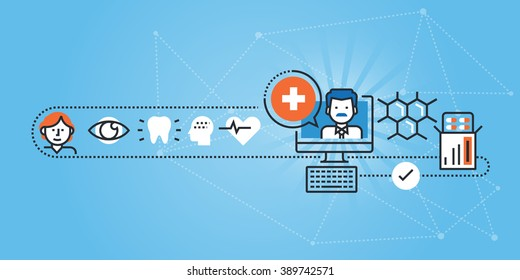 Flat line design website banner of online medical services and support. Modern vector illustration for web design, marketing and print material.