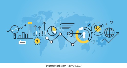 Flat line design website banner of market research. Modern vector illustration for web design, marketing and print material.