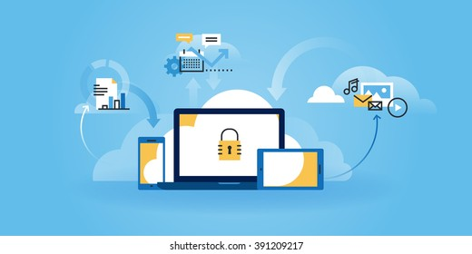 Flat line design website banner of internet security, information security, data protection, cloud computing. Modern vector illustration for web design, marketing and print material.