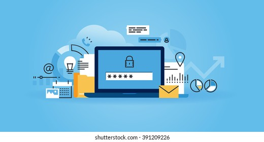Flat line design website banner of online security, data protection, antivirus software, cloud computing. Modern vector illustration for web design, marketing and print material.