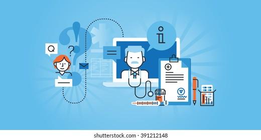 Flat line design website banner of online medical services. Modern vector illustration for web design, marketing and print material.