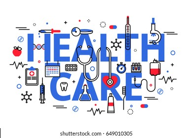 Flat line design website banner of health care, clinic and hospital facilities. Modern vector illustration for web design, marketing and print material.