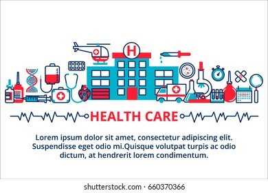 Flat line design website banner of healthcare, clinic and hospital facilities. Modern vector illustration for web design, marketing and print material.