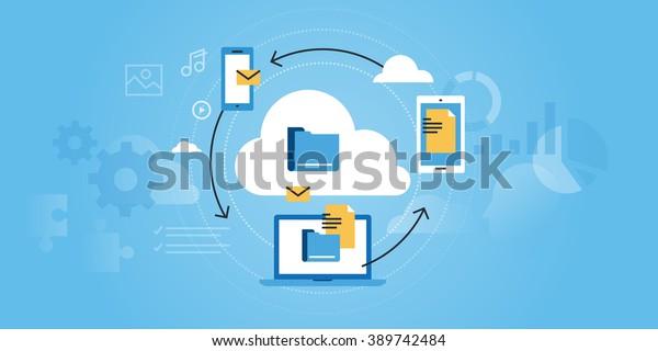 Flat line design website banner of business cloud computing. Modern vector illustration for web design, marketing and print material.