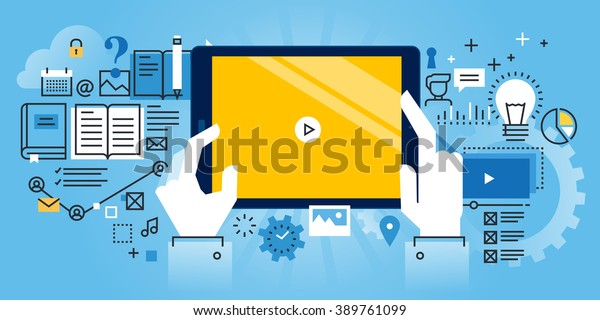 Flat line design website banner of online education, video tutorials, online training and courses. Modern vector illustration for web design, marketing and print material.
