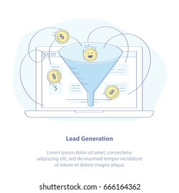 Flat line doodle vector illustration of Lead generation, Sales funnel, Marketing process for generating internet business leads. Sales funnel and laptop. Isolated vector illustration.