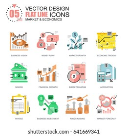 Flat line global market economics icons concepts set for website and mobile site and apps. Funds raising and financial trends. New style flat simple pictogram pack. Vector illustration.