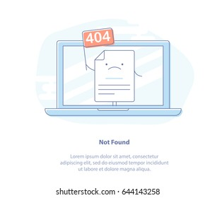 Flat line icon concept of 404 Error Page or File not found icon. Page with flag 404 on laptop display. Isolated vector illustration.