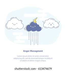 Flat line icon concept of Anger management. White fluffy cute happy clouds and angry lightning storm cloud. Weather is changing, good forecast, promising clear day, emotions and feelings, bad temper.