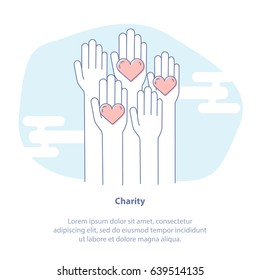 Flat Line Icon Concept of Charity, Philanthropy, Fundraising or Volunteer Symbol. Rising Hands for Help. Isolated vector illustration concept. Card or Poster Template.
