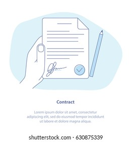 Flat line icon concept of Contract, Agreement, Terms and conditions. Vector illustration of white paper with signature, hand, pen.