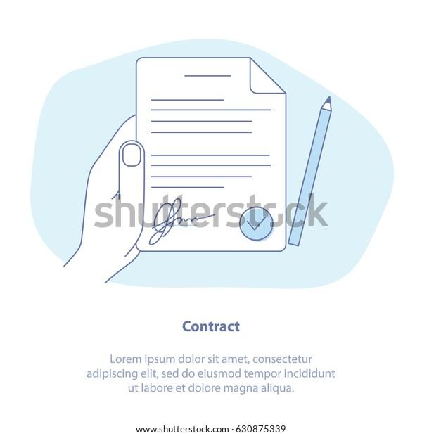 """Konzept des """"Flat Line""""-Icons für Vertrag, Vertrag, Geschäftsbedingungen. Vektorgrafik von weißem Papier mit Unterschrift, Hand, Stift."""