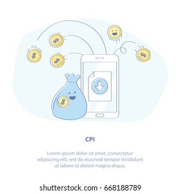 Flat line icon concept of CPI affiliate program, Pay Per Install or Mobile Marketing. Earnings on the internet - cute bag of money and a mobile phone. Vector illustration.