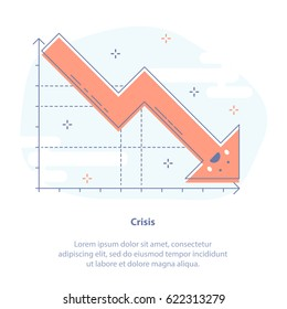Flat line icon concept of crisis, slump or drop in sales. Upset falling down graph. Isolated vector illustration