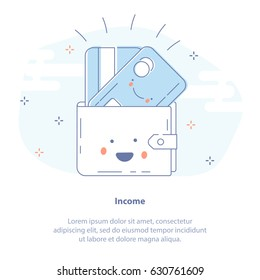 Flat line icon concept of Income, Profit, Earnings or Payment. Fun Cute Wallet character with happy credit card vector illustration symbol.