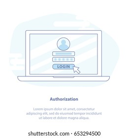 Flat Line Icon concept of Log in page on Laptop Screen. Laptop, Cursor, Login page. Modern Isolated Vector Illustration.