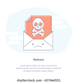 Flat line icon concept of Malicious Software, Error or Virus in Email. Upset mail envelope with virus file inside. Cute cartoon isolated vector illustration.