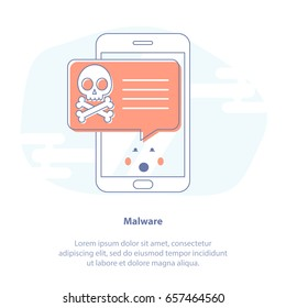 Flat line icon concept of Malicious Software, System Error or Computer Virus. Surprised Mobile phone with red Alert. Cute cartoon isolated vector illustration.