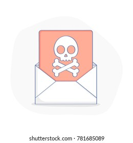 Flat line icon concept of Malicious Software, Error or Virus in Email. Upset mail envelope with virus file inside, Skull with bones in letter. Cute cartoon isolated vector illustration.