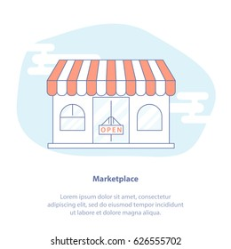 Flat line icon concept of Marketplace, Shop storefront. Isolated vector illustration.