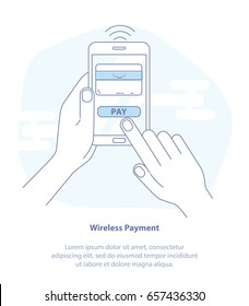 Flat line icon concept of Mobile Payment, in App Purchase, Marketing. Payment page and credit card on mobile phone screen. Modern flat isolated vector design illustration.