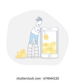 Flat line icon concept of Monetization, Online Business: Mobile Wallet, Earn Money Online, Mobile Affiliate Marketing,Traffic Monetization. Man earn money using smartphone. Vector illustration.