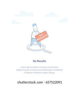 "Flat line icon concept of No Result, Not Found or 404 web page Error. Cute man with a sign ""No Results"". Isolated vector illustration in trendy design style."
