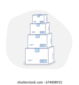 Flat line icon concept of ?argo or Parcel Delivery, Storage of goods. Pile of stacked sealed carton goods cardboard boxes. Vector Illustration.