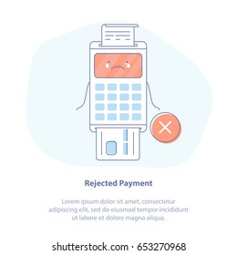 Flat line icon concept of Payment by credit card using POS terminal, Rejected or Failure Payment. Cute Cartoon Isolated vector illustration in light colors.