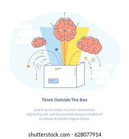 Flat line icon concept of Thinking outside the box. Vector Illustration of flying brains from the box. Creativity or new idea generation icon.
