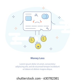 Flat line icon concept of Waste, Costs, Expenses or Money loss. Frustrated credit card with happy coins.
