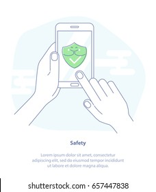 Flat line icon concept of Web Access Security, Protected Connection. Hand holding smartphone with green Shield on the screen. Isolated vector illustration in trendy design style.