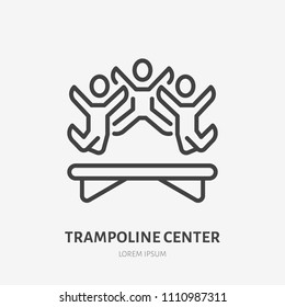 Flat line icon of happy people jumping on trampoline. Trampolining sign. Thin linear logo for amusement park, corporate party entertainment.