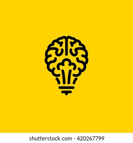 Flat line icon of light bulb looks like brain. Creative logo template