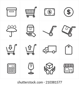 Flat Line Icons For Business Icons and Ecommerce Icons Vector Illustration