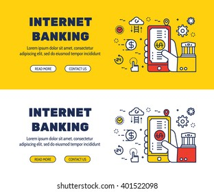 Flat line icons design of INTERNET BANKING and elements illustration concept for website banner, printing , book cover and corporate documents.