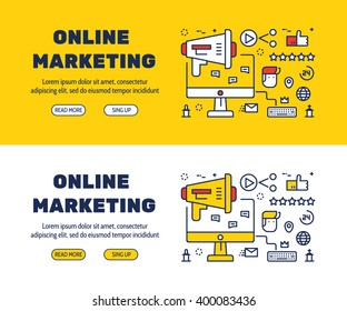 Flat line icons design of online marketing and elements illustration concept for website banner, printing , book cover and corporate documents.