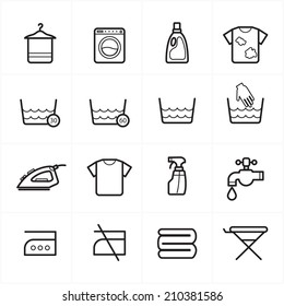 Flat Line Icons For Laundry and Washing Icons Vector Illustration