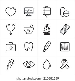 Flat Line Icons For Medical Icons and Health Icons Vector Illustration